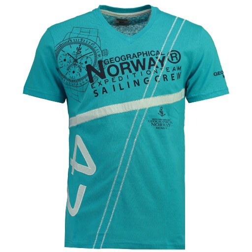 T-shirt Geographical Norway Jilly Heren Turqouise (alleen nog maat M)