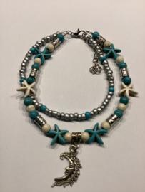 Howliet armband met twee lagen en maan pendantje