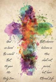 Religie Kruis met tekst 30x40 cm full