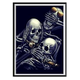 Skelet horen zien En zwijgen 30 x 40 cm full