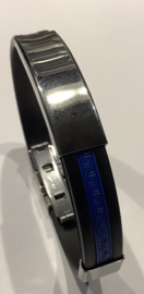 Heren armband rubber met stainless steel
