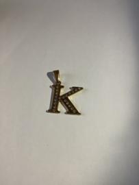 letter K hanger goudkleurig met strass steentjes 3/5 cm