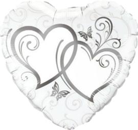 Huwelijk- Harten zilver XL
