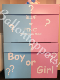 Gender Reveal- BOX XXL Blue or Pink met folie