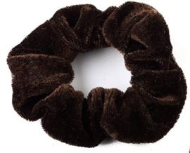 Scrunchie Fluweel Mini Bruin