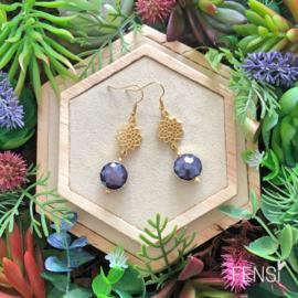 FENSI Royal Chic - Oorbellen - donker violet met mandala bedel