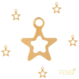 Stainless steel bedel ster - goud - per stuk