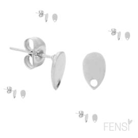 Stainless steel 0orknopjes druppel  - zilver - per paar