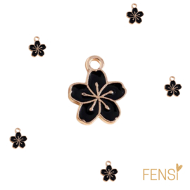 Trendy Bedels - bloem zwart - emaille - per stuk