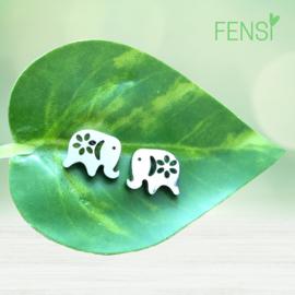 Kinderoorbellen - stainless steel oorstekers - olifant