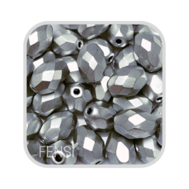 FP Oval Facet - metallic suede silver - per 10 stuks