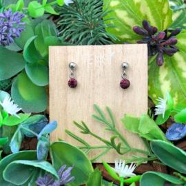Kinderoorbellen - oorstekers met crystal hanger - burgundy