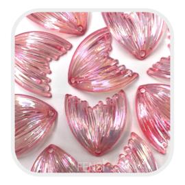 Acryl bedel - meermin pink rainbow - per stuk