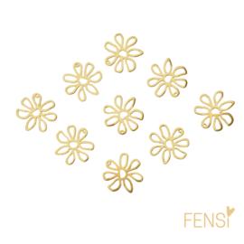 Raw Brass - bedel open bloem - per 2 stuks