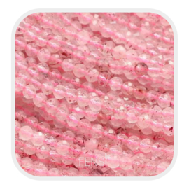 Edelsteen kralen - strawberry quartz -  ca. 3 mm