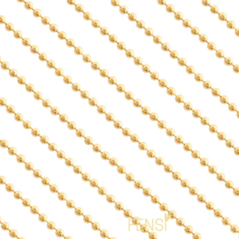 Stainless steel ball chain 1.4 mm - goud - per 10 cm
