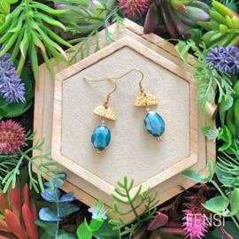 FENSI Royal Chic - Oorbellen - turquoise met halve maan tussenstuk