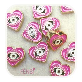 BOHO Beads - hart  roze - per stuk