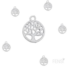 DQ Bedels - levensboom rond - zilver - per stuk