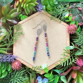 FENSI Good Vibes - oorbellen - multicolor met tussenstuk bedel