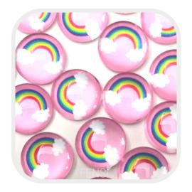 Cabochons 12 mm - regenboog roze - per stuk