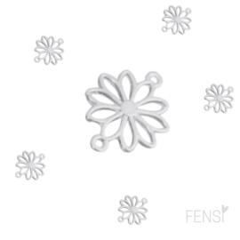 DQ Bedels - bloem connector - zilver - per stuk
