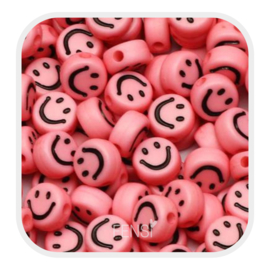 Acryl kralen - smiley faces - zalmroze per 10 stuks