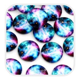 Cabochons 12 mm - galaxy multicolor - per stuk