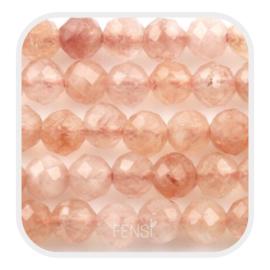 Edelsteen kralen - sunstone -  ca. 3 mm
