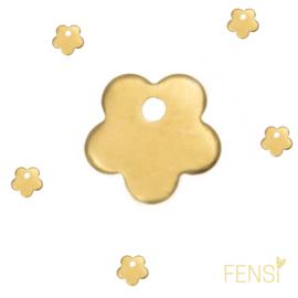 Stainless steel bedel bloem - goud - per stuk