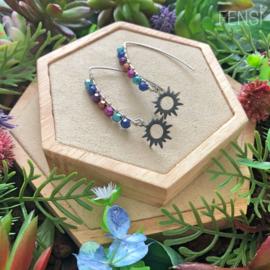 FENSI Good Vibes - oorbellen - wire-wrap multicolor zon bedel