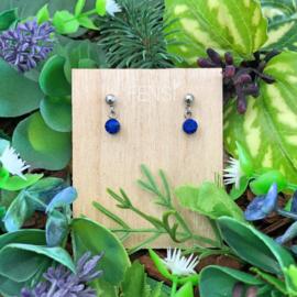 Kinderoorbellen - oorstekers met crystal hanger - royal blauw