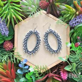 FENSI fringes -  Oorbellen - ovaal zwart/wit