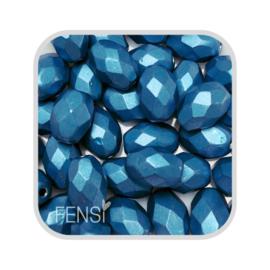 FP Oval Facet - metallic suede dark blue - per 10 stuks