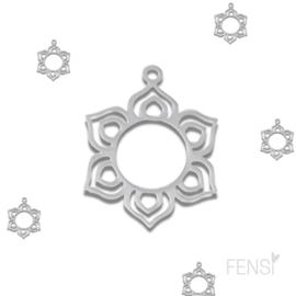 Stainless steel bedel - lotusbloem - per stuk