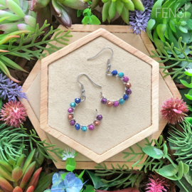 FENSI Good Vibes - oorbellen - wire-wrap rond multicolor