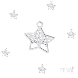 DQ Bedels - levensboom ster - zilver - per stuk