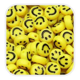 Acryl kralen - smiley faces - geel per 10 stuks