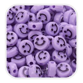 Acryl kralen - smiley faces - lila per 10 stuks