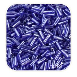 Twisted Bugle Beads 6x2 mm - koningsblauw