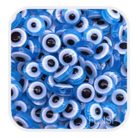 Acryl kralen - evil eye kralen blauw - per 10 stuks