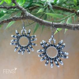 FENSI sunshine fringes - Oorbellen - zwart/wit