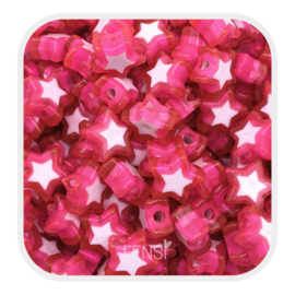 Acryl kralen - sterren  fuchsia - per 10 stuks