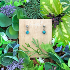 Kinderoorbellen - oorstekers met crystal hanger - hemelsblauw