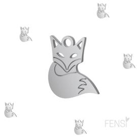 Stainless steel bedel vosje- zilver- per stuk
