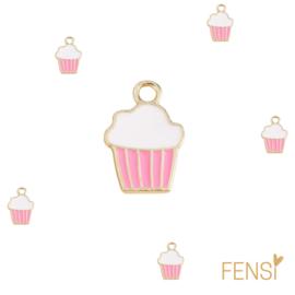 Trendy Bedels - ijsje roze - emaille - per stuk