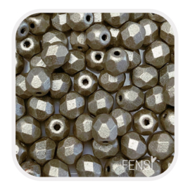 Fire polished 4mm - suede silver grey - per 25 stuks