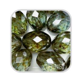 FP Oval Facet - crystal green/blue lazura - per stuk