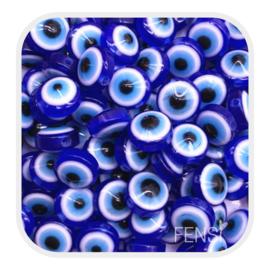 Acryl kralen - evil eye kralen donkerblauw - per 10 stuks