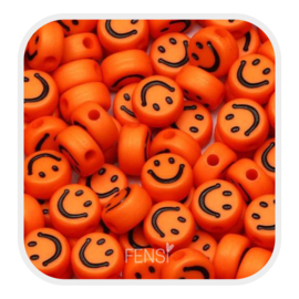 Acryl kralen - smiley faces - oranje per 10 stuks